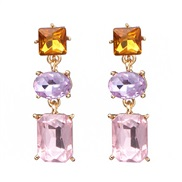 ( Pink)occidental style wind geometry square glass earrings fashion all-Purpose woman ear stud