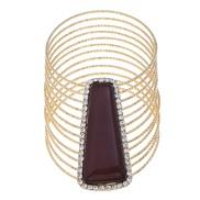 ( Gold+Coffee )occidental style  bangle multilayer Metal textured geometry big gem diamond bangle