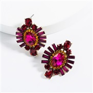 ( red)ins Street Snap exaggerating Acrylic diamond geometry super fully-jewelled earrings woman occidental style tempera