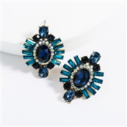 ( blue)ins Street Snap exaggerating Acrylic diamond geometry super fully-jewelled earrings woman occidental style temper