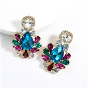 ( Blue color)earrings exaggerating drop Acrylic diamond earrings woman occidental style fully-jewelled super ear stud