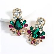 ( Green color)earrings exaggerating drop Acrylic diamond earrings woman occidental style fully-jewelled super ear stud