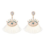 ( white)occidental style exaggerating personality eyes earrings Alloy tassel diamond eyes ear stud