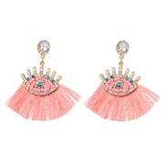 ( Pink)occidental style exaggerating personality eyes earrings Alloy tassel diamond eyes ear stud