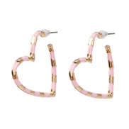 ( Pink) earrings occidental style exaggerating ear stud Alloy black heart-shaped arring