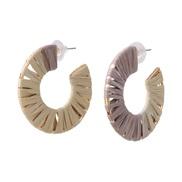 ( Beige)occidental style earrings hollow Alloy color weave woman ear stud