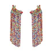 ( Color)occidental style wind long style ear stud fashion all-Purpose temperament glass diamond tassel earrings woman ar