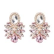 occidental style ear stud high-end glass diamond earrings super geometry Earring