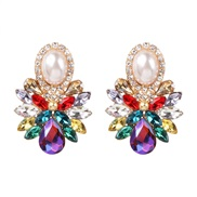 ( Color)occidental style ear stud high-end glass diamond earrings super geometry arring