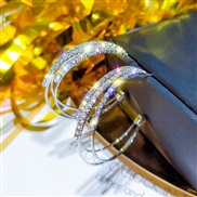 ( Silver)silver occidental style exaggerating fully-jewelled circle geometry circle earrings Korea temperament all-Purpo