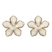 occidental style temperament brief Alloy flowers Pearl flower earring  summer fresh and cool Pearl lady earrings
