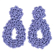 (purple)occidental style beads earrings  handmade creative beads earrings woman fashion Street Snap fashion arring
