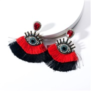 ( red)occidental style exaggerating Acrylic diamond eyes Double layer tassel earrings woman retro fashion Bohemia arring