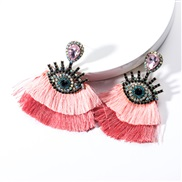 ( Pink)occidental style exaggerating Acrylic diamond eyes Double layer tassel earrings woman retro fashion Bohemia arrin