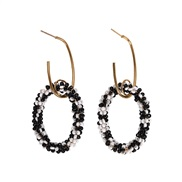 (black and white)Bohemia summer trend beads cirque earring  occidental style beads circle earrings woman