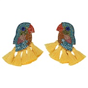( yellow)spring summer creative embed colorful diamond tassel earrings occidental style exaggerating earring