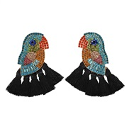 ( black)spring summer creative embed colorful diamond tassel earrings occidental style exaggerating earring