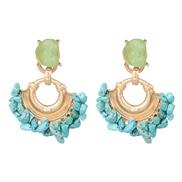 ( blue) occidental style creative exaggerating ear stud pattern tassel geometry earring ear stud woman