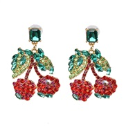 ( red)earrings occidental style brief personality fruits handmade diamond cherry ear stud earring