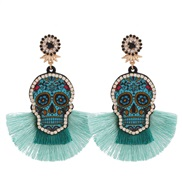 ( green)spring summer skull diamond tassel long style earrings woman occidental style Bohemia environmental resin earrin