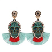 spring summer skull diamond tassel long style earrings woman occidental style Bohemia environmental resin earring