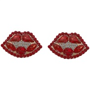 embed fully-jewelled lips earrings occidental style exaggerating summer creative