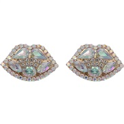 (AB color) embed fully-jewelled lips earrings occidental style exaggerating summer creative