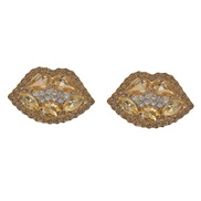 ( Diamond drill ) embed fully-jewelled lips earrings occidental style exaggerating summer creative
