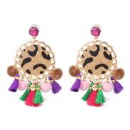 ( Purple color )ethnic style tassel velvet earrings occidental style personality leopard earring