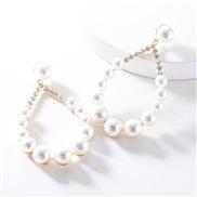 ( white)temperament occidental style silver drop half diamond imitate Pearl earrings woman high-end atmospheric ear stud
