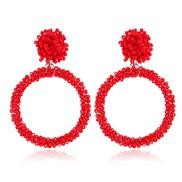 ( red White k)  retro occidental style temperament ear stud  fashion handmade beads Acrylic earrings Earring