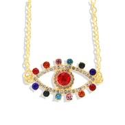 ( Color Eye )Bohemia ethnic style creative big eyes diamond necklace  creative occidental style trend chain woman