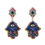 ( blue) new occidental style personality earring diamond ear stud color Optional