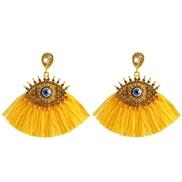 ( yellow)Korea womanins exaggerating personality big eyes tassel ear stud fashion retro diamond arring earrings
