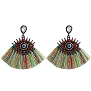 ( Color)Korea womanins exaggerating personality big eyes tassel ear stud fashion retro diamond arring earrings