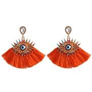 ( red)Korea womanins exaggerating personality big eyes tassel ear stud fashion retro diamond arring earrings