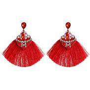 ( red)creative ethnic style geometry earrings tassel long style women ear stud Earring