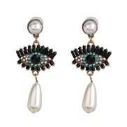 Korea womanins exaggerating personality big eyes ear stud fashion retro brilliant zircon Pearl earrings
