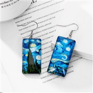 ins personality brief noble wind long square resin earrings