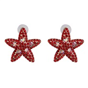 ( red) creative woman color starfish ear stud diamond personality occidental style