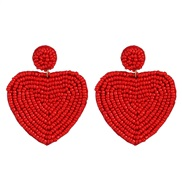( red) beads ear stud personality creative heart-shaped beads earrings Double surface