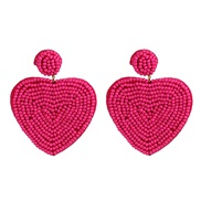 ( Plum red) beads ear stud personality creative heart-shaped beads earrings Double surface