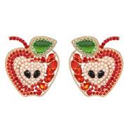 ( red) fruits apple earrings ear stud diamond personality occidental style