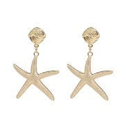 ( Gold) occidental style star earrings starfish ear stud brief all-Purpose fashion woman style gift Earring