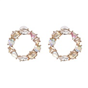( champagne) new fully-jewelled circle earrings occidental style wind lady ear stud
