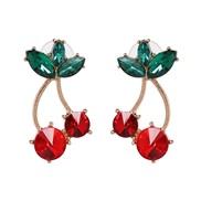 ( red) fruits cherry diamond ear stud high-end quality earrings
