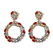 ( red) more crystal color earrings  occidental style fashion atmospheric trend earrings