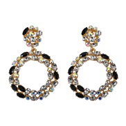 ( black) more crystal color earrings  occidental style fashion atmospheric trend earrings