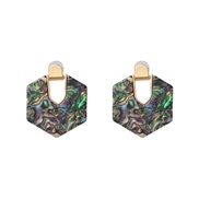 ( Color)Koreains retro exaggerating wind transparent pattern resin Oval hollow earrings  ear stud