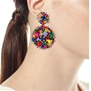 ( blue) gem Alloy mosaic atmospheric woman earrings   fashion brief exaggerating earrings